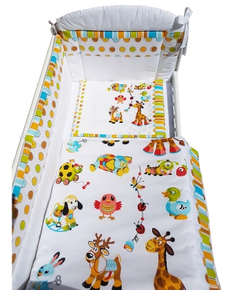 Textil komplet posteljine za bebe Happy Animals