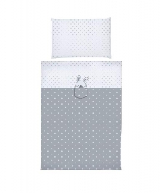 Klups posteljina za bebe set 2 dela Little Bunnies Grey